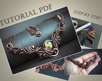 Tutorial wirewrapped necklace PDF Wire necklace tutorial Wire wrapped jewelry lesson Wire wrap tutorial Wire jewelry tutorial Dorasaccessory