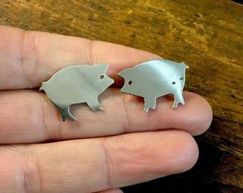 Pig Earrings Sterling Silver Stud Piglet Profile 925