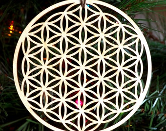 Flower of Life Holiday Ornament - Laser Cut Wood Wooden Sacred Geometry Symbol Conscious Decoration