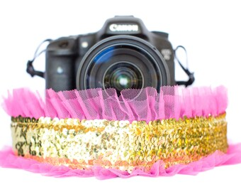 Sequin Camera Strap Gold with Bright Pink Tulle