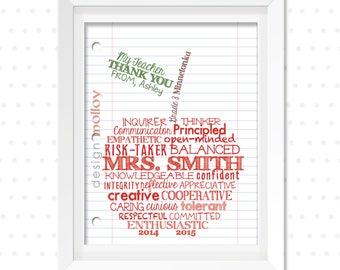 Teacher Appreciation Gift - Teacher Appreciation Art -Word Art for Teacher -Thank You Teacher -Custom Apple for Teacher -Teacher Gift Ideas