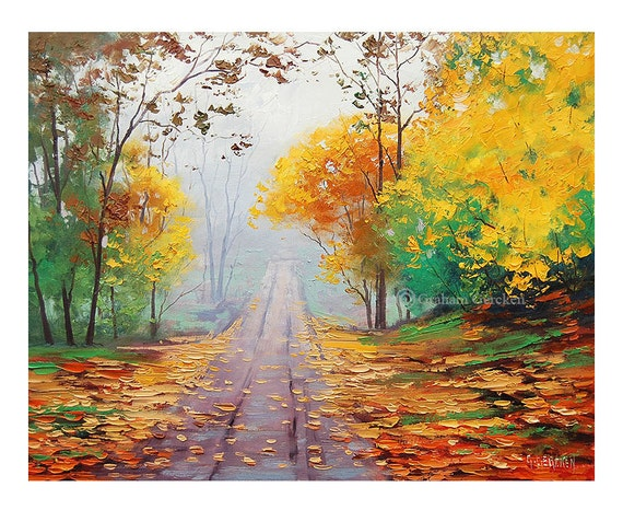 AUTUMN FALL PAINTING road yellow trees art misty landscape
