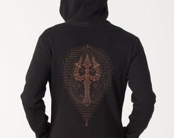 Black Zip Up Hoodie Jacket Trishul Screen Print, Psychedelic Hoodie, Festival Hoodie, Mens Hoodie, Uv Reactive Clothing