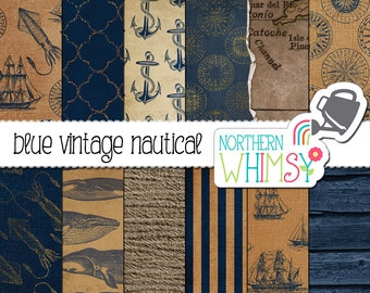 Vintage Nautical Digital Paper – blue scrapbook paper with anchors sailing ships & whales - distressed vintage digital paper -commercial use