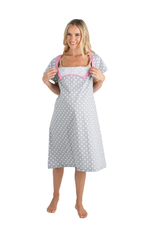 Lisa Grey Dotted Labor Delivery Maternity Hospital Gown Baby