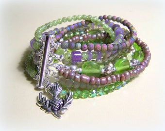 MULTI STRAND BRACELET ... lilac and green