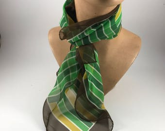 Vintage Ladies' Green and Yellow and Brown Geometric Print Scarf