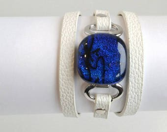 Blue Sparkle Triple Wrap Cuff Bracelet, Dichroic Glass