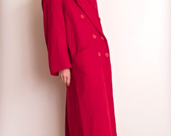 VTG 80s red camel hair maxi duster jacket minimalist I Magnin double breasted
