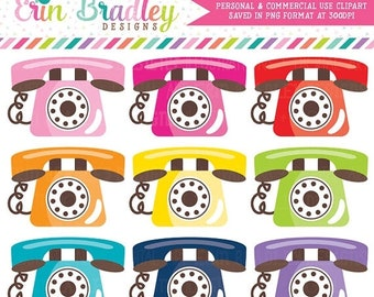 80% OFF SALE Telephone Clipart Graphics Phone Clip Art Personal & Commercial Use