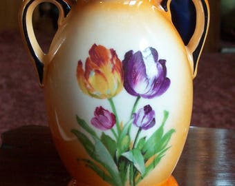 Brightly Colored Vintage Czechoslovakia Vase With Flowers Signed