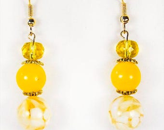 YELLOW EARRINGS, yellow jewelry, 3 yellow beads, dangle earrings, dangle jewelry, sunny earrings, lemon yellow earrings, yellow glass - 1517