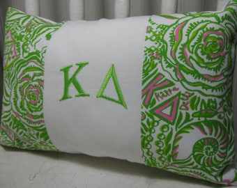 """Monogrammed Kappa Delta Pillow (Lilly Pulitzer Sorority Fabric) with INSERT 8""""x12""""  /Sorority Gift/ Big/ Little Gift/Bid Day/Chapter Gift"""