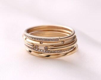 Stacking Rings, Skinny gold ring set, stacking ring set, stackable rings, 14k gold rings, Solid Gold Stacking Rings, Wedding ring set, Gift