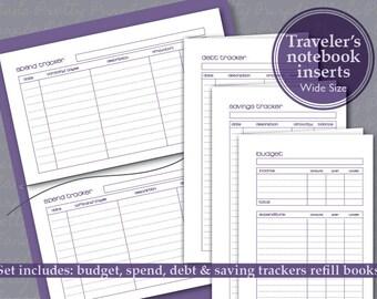 Printable budget, spend, debt & savings trackers finance planner set - Fauxdori Travelers Notebook WIDE /CAHIER size insert refills - Purple