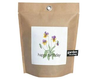 Happy Birthday Garden in a Bag – Grow Kit – Eco friendly – Apartment Garden - Grow Your Own - Windowsill Gardening - Gifts for Gardeners