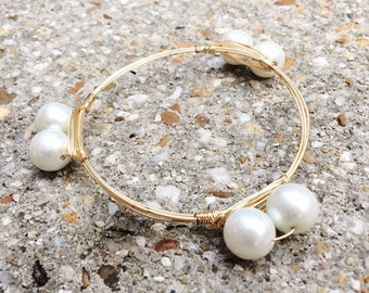 Gold Wire Wrapped Bangle with Pearl Beads, Bourbon and Boweties Inspired