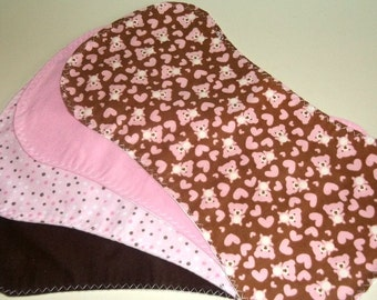 Set of 4 Baby Girl Burp Pads in Pinks and Browns with Teddies Dots and Solids