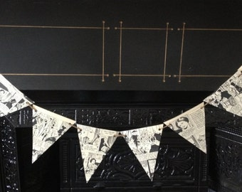 Vintage Girls Magazine Paper Bunting - Hanging Pennants - Party Decorations - Upcycled Black & White Comic Strip