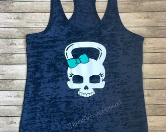 Girl Kettle Bell Skull Bow Workout Burnout Tank