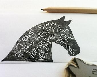 horse address stamp, hand carved return address stamp, handmade stamp
