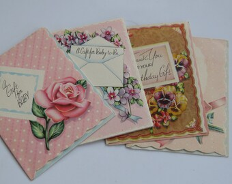 4 Goregous Vintage 40's Gift Card Lot ~ Birthday ~ New Baby ~ Scalloped ~ Floral