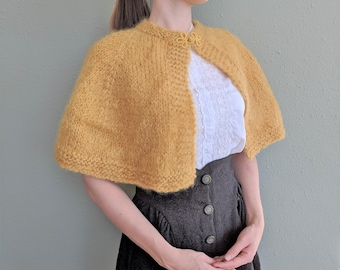 Vintage Yellow Mohair Cape, Hand Knitted Mustard Yellow Soft Shawl Shrug, Hand Crocheted Yellow Capelet Wrap, Vintage Knitted Shawl Stole