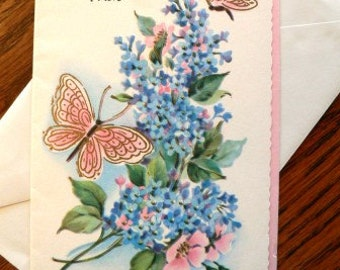 vintage cards ... A  GET WELL WISH retro Card w envelope ...