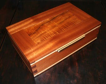Curly Koa and Mahogany Dovetailed Jewelry Box