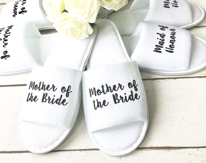 Featured listing image: Bridesmaid Slippers   Wedding Slippers   Spa Slippers   Bridal Party Slippers   Hen Party Slippers  Personalised Slippers   Wedding Slippers