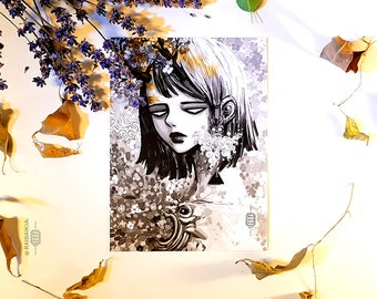 Art postcard, Gaia, black and white Paisley flower art, white flower art, darkart demonic art, watercolor print, fine art print, flower print