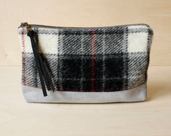 Wool Makeup Bag in Black, Red, and Gray Plaid with Gray Suede /  Pouch /  Cosmetics Bag /  Travel Bag