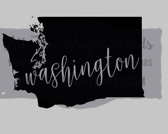"""Free Shipping  //  5.5x3.5"""" Washington State Decal,  Car Decal,  Laptop Decal, Local,  WA,  PNW, Evergreen State,  Great for water bottles"""