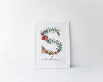 botanical floral letter printable · monogram print · name art print · floral letter print · nursery monogram · whimsical nursery printable