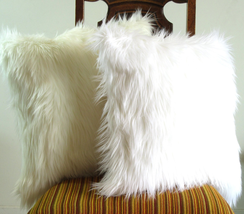white faux luxury amazon fur pillow decorative case daniellemorgan