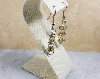Chainmaille Barrels Silver & Gold Earrings