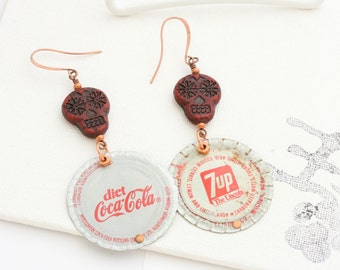 Bottle cap earrings. Diet Coke and 7-Up. Long earrings. Reuse. Recycle. Upcycle.
