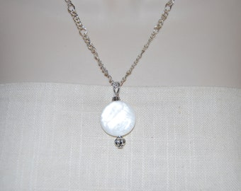 Mother of Pearl Pendant Necklace, MOP and Silver Chain Necklace, Mother of Pearl Long Chain Necklace, Mother of Pearl and Silver Chain