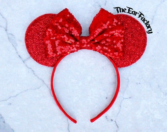 Red Disneyland Ears, Minnie Mouse Ears, Mickey Mouse Ears, Minnie Ears, Mickey Ears, Disney Ears, Red Sequin Bow, Disneyland Ears, Mickey