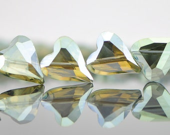 38pcs Heart Faceted Crystal Glass beads 17mm Sparkly Olivine Olive Green -(TS15-5)