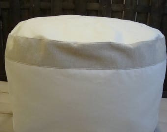 Canvas Round Pouf, linen Bean bag, Floor Pouf, Tuffet, Footstool, Large pillow, Floor Cushion, Round Ottoman