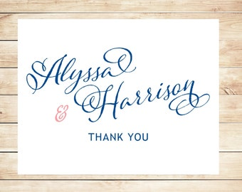 Navy and Pink Thank You Cards - Bridal Stationery