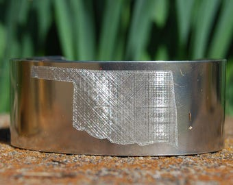 Silver Oklahoma Bracelet, State Bracelet, Oklahoma Jewelry, State Jewelry, Oklahoma Cuff,