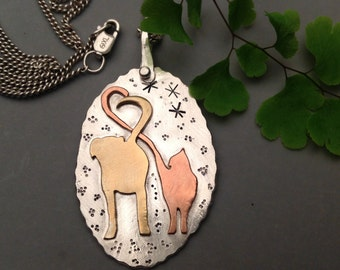 Valentines gifts for her, Mixed metal pendant Dog and Cat Necklace - Mixed Metal Jewelry