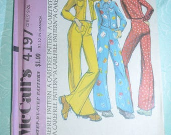 McCalls 4197 Girls Unlined Jacket and Pants Sewing Pattern  UNCUT Size 10