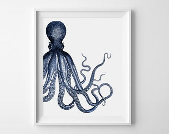 Printable Octopus Art, Home Decor, Nautical Wall Art, Sea Life Artwork, Printable Wall Art, Ocean Wall Decor, Art Print, Instant Download
