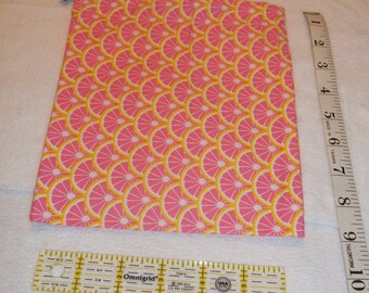 Pink Grapefruit Handmade Drawstring Bag