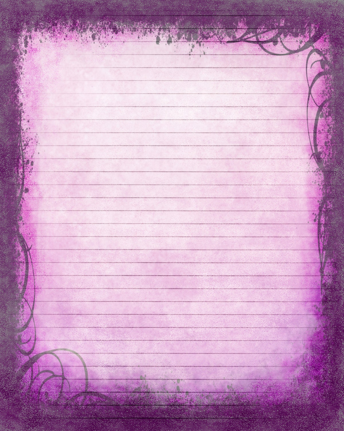 Lined Stationery Paper Simple Printable Journal Page Instant Download Purple Digital