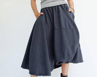 NO.221 Blue-Gray Viscose Asymmetric Midi Skirtpants, Avant Garde Skirt