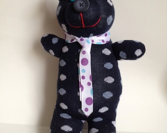 Bear Sock Toy - Violet Bows